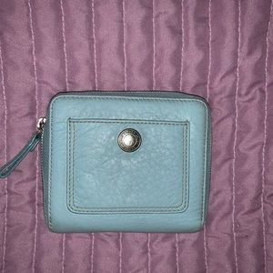 Coach leather baby blue zip wallet